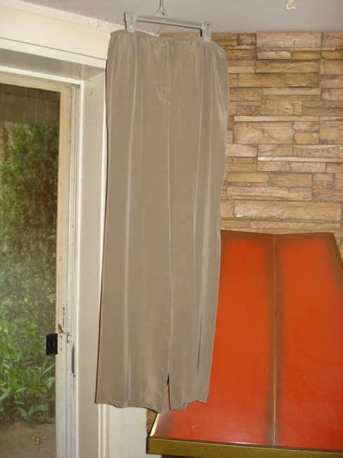 Bloomingdale's Lounging Straight Taupe Wide Leg Pants Tan Image 1