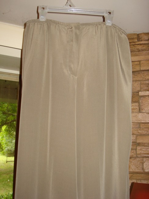 Bloomingdale's Lounging Straight Taupe Wide Leg Pants Tan Image 2