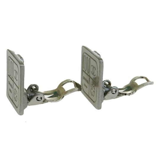 Chanel Authentic CHANEL CC Clip-on Earrings Silver Plated 99A France Accessor Image 1