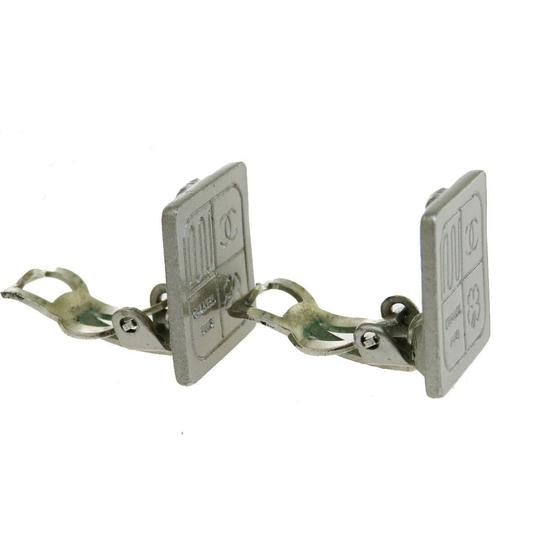 Chanel Authentic CHANEL CC Clip-on Earrings Silver Plated 99A France Accessor Image 2