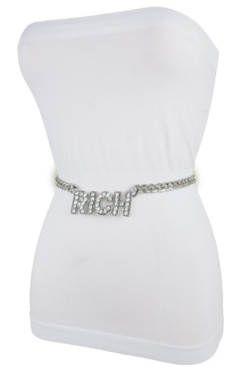 Alwaystyle4you Women Hip Hop Fashion Belt Silver Metal Chain Rich Charm Buckle XS S M Image 1