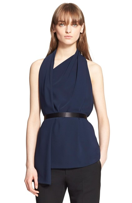 Preload https://img-static.tradesy.com/item/25956079/alexander-wang-blue-belted-wrap-scarf-sleeveless-in-blouse-size-0-xs-0-0-650-650.jpg