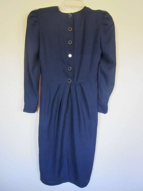 Leslie Fay Class Classic Vintage Longsleeve Polyester Pettite Fitted Pleated Dress