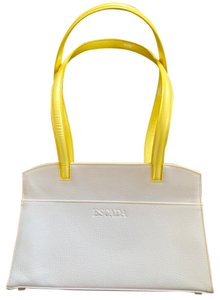 Escada Tote in white with bright yellow handles and accents