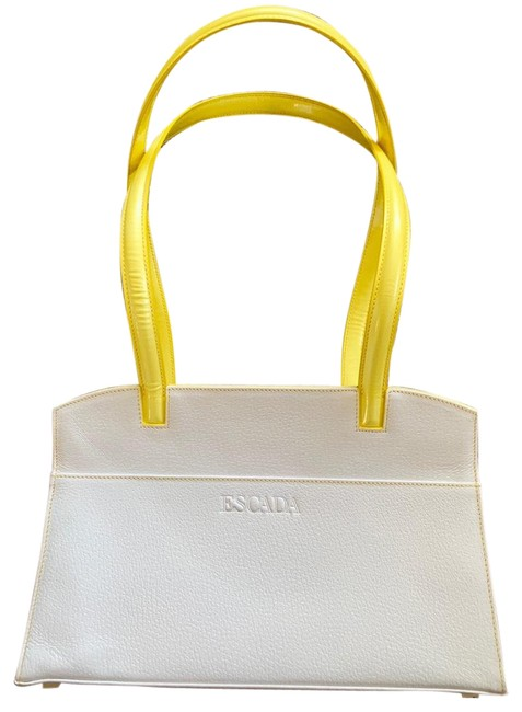 Item - Rare White with Bright Yellow Handles and Accents Leather Outside Fabric Material Inside Tote