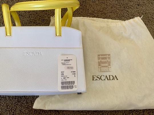 Escada Tote in white with bright yellow handles and accents Image 1