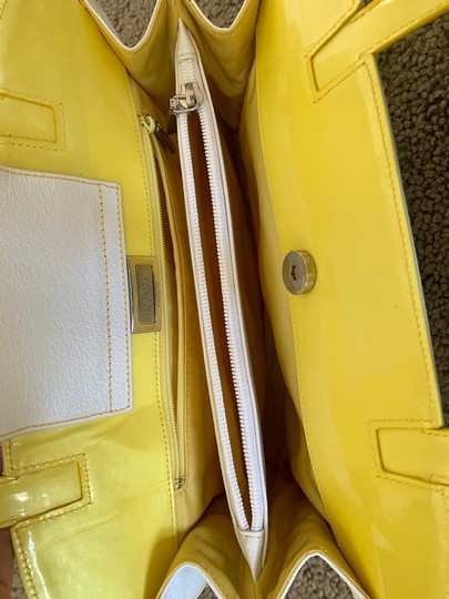 Escada Tote in white with bright yellow handles and accents Image 10
