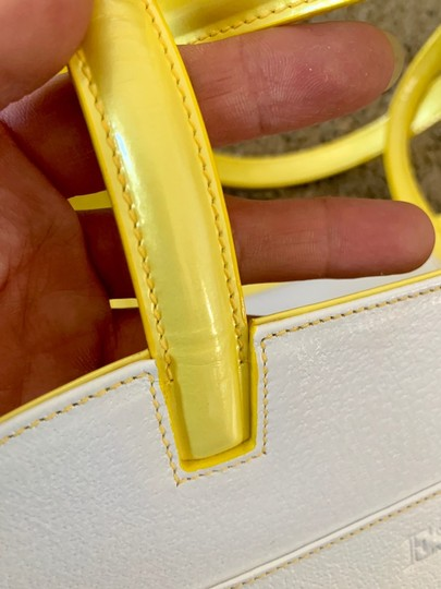 Escada Tote in white with bright yellow handles and accents Image 2