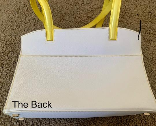 Escada Tote in white with bright yellow handles and accents Image 6