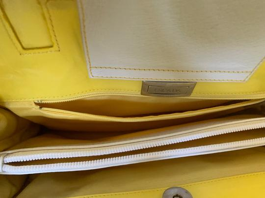 Escada Tote in white with bright yellow handles and accents Image 9