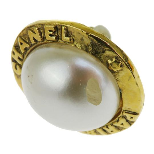 Chanel Auth CHANEL Logo Earrings Imitation Pearl Gold-tone Clip-On 28 Accesso Image 5
