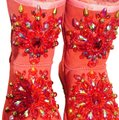 100% UGG AUSTRALIA BOOTS AUTHORS WORK SWAROVSKI CRYSTALS SIZE 9 EURO 40 Red Boots Image 0