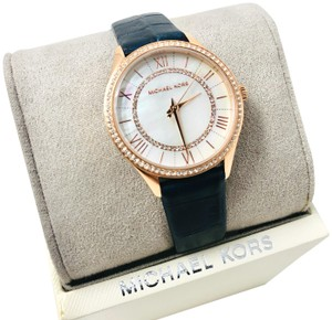 Michael Kors NEW Women's Lauryn Three-Hand Blue Leather Watch MK2757