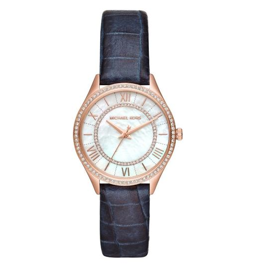 Michael Kors NEW Women's Lauryn Three-Hand Blue Leather Watch MK2757 Image 1