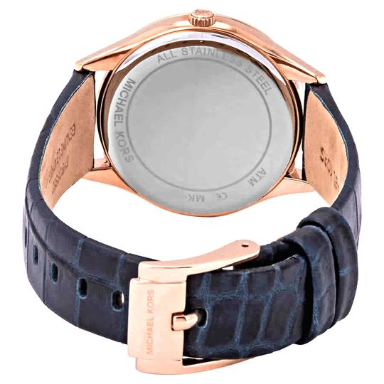 Michael Kors NEW Women's Lauryn Three-Hand Blue Leather Watch MK2757 Image 10