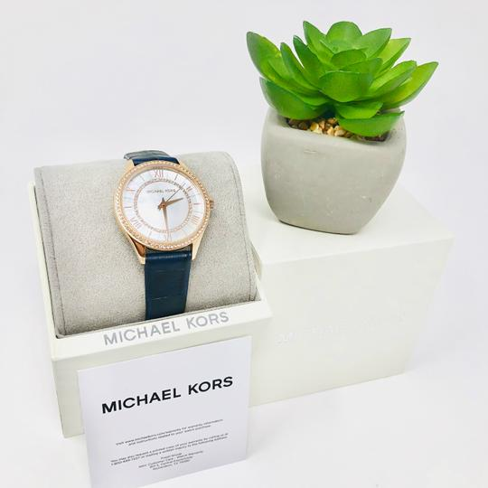 Michael Kors NEW Women's Lauryn Three-Hand Blue Leather Watch MK2757 Image 7