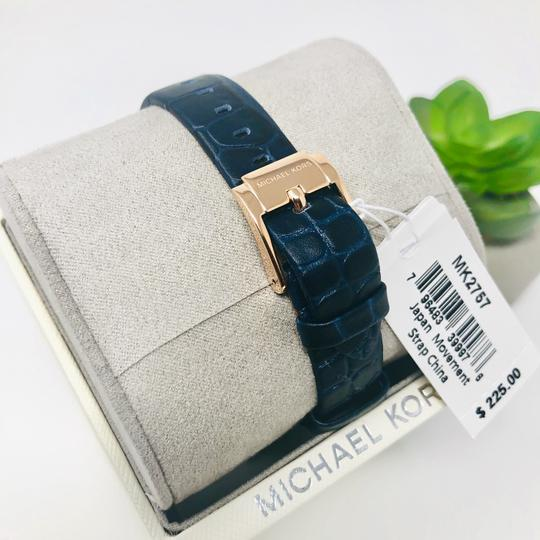 Michael Kors NEW Women's Lauryn Three-Hand Blue Leather Watch MK2757 Image 9