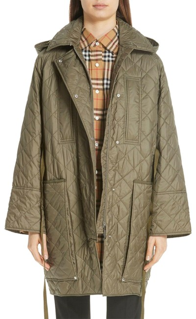 Burberry Green Coleraine Quilted Drawstring Women's Jacket Cadet Coat Size 4 (S) Burberry Green Coleraine Quilted Drawstring Women's Jacket Cadet Coat Size 4 (S) Image 1