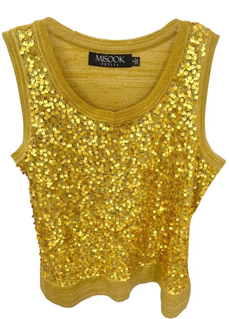 Preload https://img-static.tradesy.com/item/25956299/misook-petite-small-sequined-blouse-gold-top-0-1-650-650.jpg