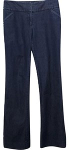 Kenneth Cole Welted Pockets Eye And Hook Closure Boot Cut Jeans-Dark Rinse