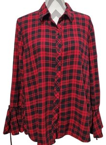 beachlunchlounge Sleeves Flannel Plaid Button Down Shirt Red