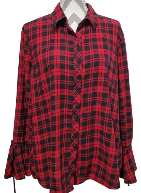 Preload https://img-static.tradesy.com/item/25956437/red-flannel-bell-sleeve-shirt-button-down-top-size-12-l-0-1-650-650.jpg