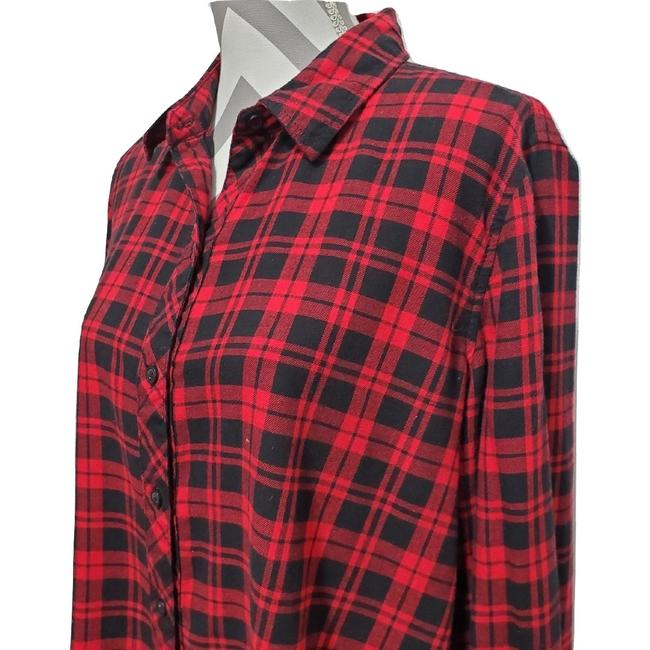 beachlunchlounge Sleeves Flannel Plaid Button Down Shirt Red Image 1