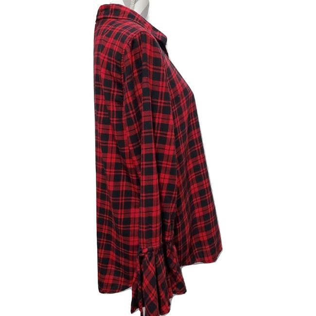 beachlunchlounge Sleeves Flannel Plaid Button Down Shirt Red Image 2