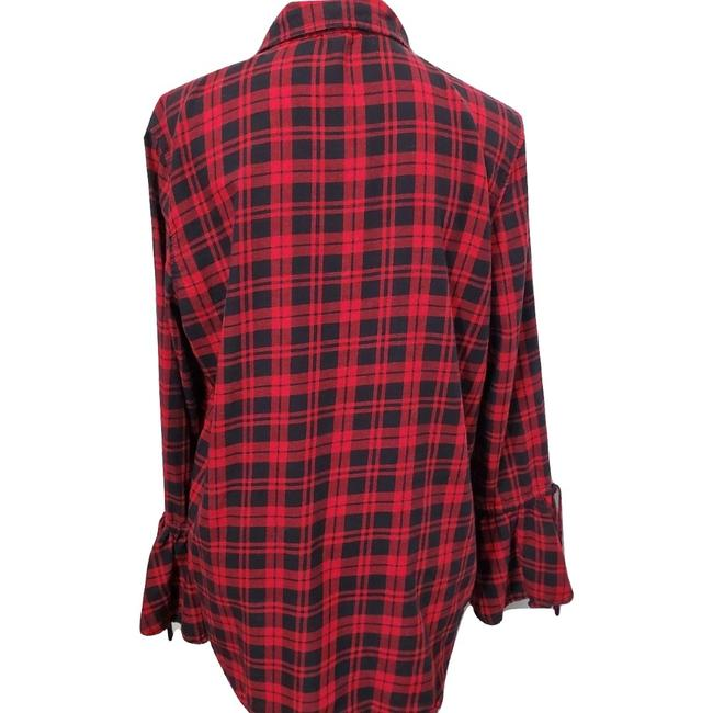 beachlunchlounge Sleeves Flannel Plaid Button Down Shirt Red Image 3