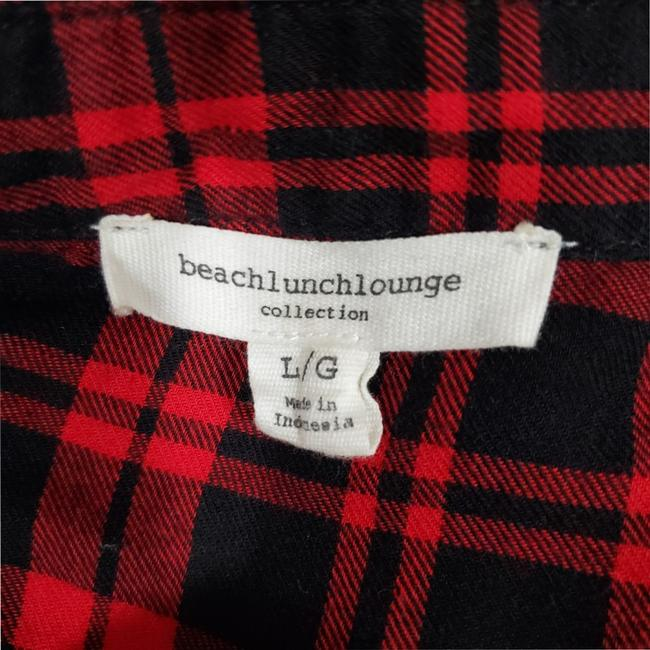 beachlunchlounge Sleeves Flannel Plaid Button Down Shirt Red Image 6