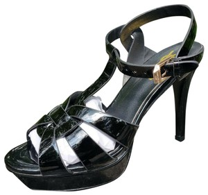 Saint Laurent Ysl Tribute Pumps Black Patent Leather Sandals