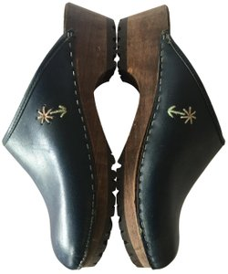 J.Crew Leather Wood Sole Navy Blue Mules