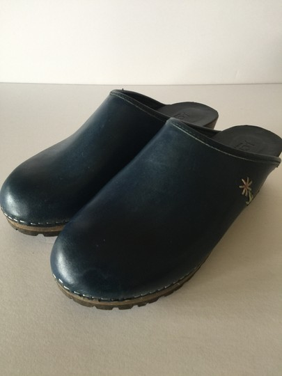 J.Crew Leather Wood Sole Navy Blue Mules Image 1