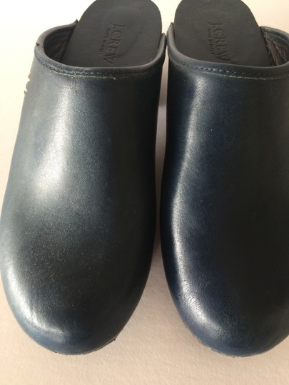 J.Crew Leather Wood Sole Navy Blue Mules Image 2