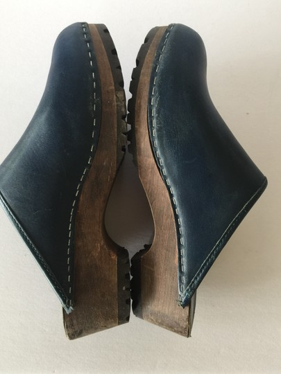 J.Crew Leather Wood Sole Navy Blue Mules Image 3