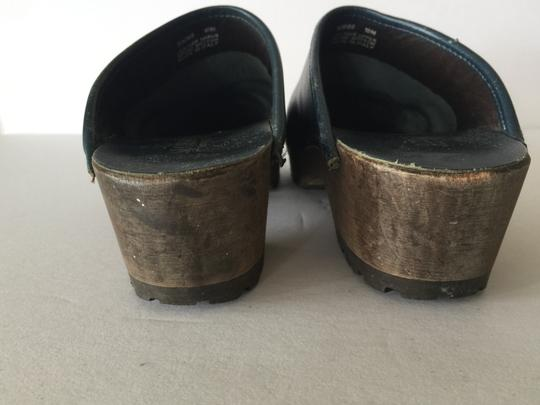 J.Crew Leather Wood Sole Navy Blue Mules Image 4