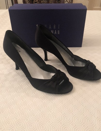 Stuart Weitzman Black Satin Pumps Image 1