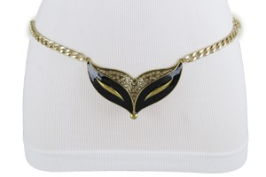Alwaystyle4you Women Fashion Belt Gold Metal Chain Cat Face Mask Charm Buckle XL XXL