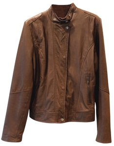 Cole Haan Motorcycle Like New Brown Leather Jacket