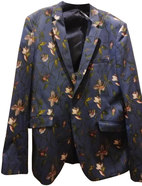 Item - Blue Multiple 42r Men's Made In Italy Floral Print Blazer Size 10 (M)