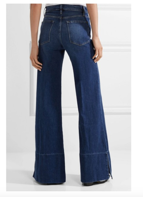 FRAME Palazzo Pants High Rise Denim Trouser/Wide Leg Jeans-Medium Wash Image 5