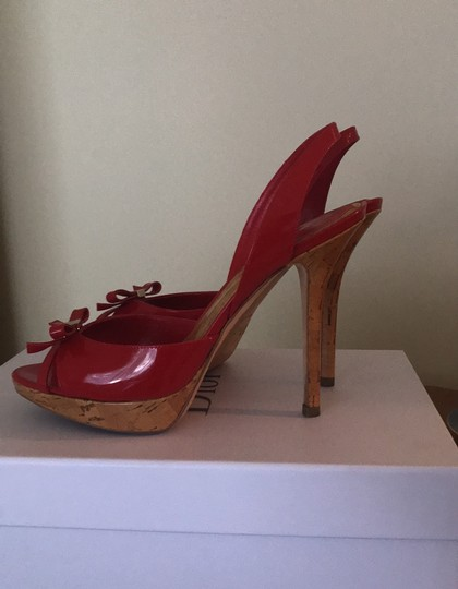 Dior Patent Leather Stiletto Gold Hardware Red Platforms Image 2