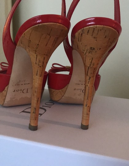 Dior Patent Leather Stiletto Gold Hardware Red Platforms Image 3