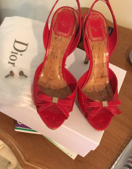 Dior Patent Leather Stiletto Gold Hardware Red Platforms Image 8