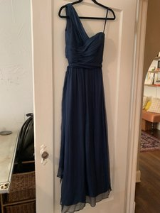 Amsale Navy Blue Chiffon One Shoulder French Formal Bridesmaid/Mob Dress Size 2 (XS)