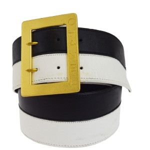Chanel CHANEL Logos Buckle Belt Leather White Black Gold