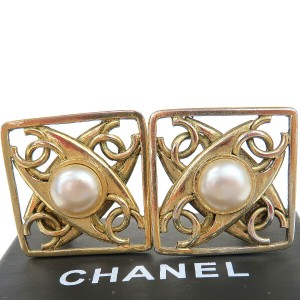 Chanel Gold Cc Logos Imitation Pearl Clip-on Gold-tone Earrings
