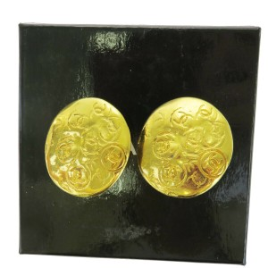 Chanel Gold Cc Logos Medal Vintage Gold-tone Clip-on Earrings