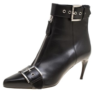 Alexander McQueen Leather Pointed Toe Black Boots