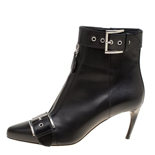 Alexander McQueen Leather Pointed Toe Black Boots Image 1